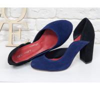 Женские туфли из натуральной замши синего и черного цвета, на устойчивом обтяжном каблуке, Лимитированная серия, Т-17423/2-02