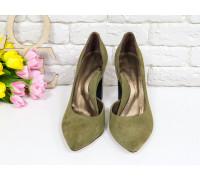 Эксклюзивные туфли из натуральной Итальянской замши оливкового цвета, на устойчивом черном каблуке, Лимитированная серия, Т-1701/1-08
