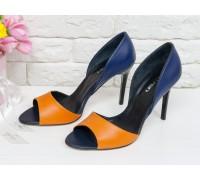 Кожаные Босоножки на шпильке красивого сочетания оранжево и синего цвета, С-704