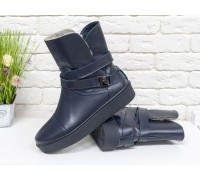 Спортивные Ботинки с меховым утеплителем, из натуральной кожи синего цвета, на утолщенной прорезиненной подошве, Б-17081-03