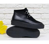 Стильные женские ботинки из натуральной замши и кожи черного цвета на шнуровке, в стиле Chukka Boots, на удобной прорезиненной подошве черного цвета, Коллекция Осень-Зима 2017-2018, Б-17111