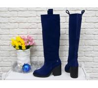 Высокие Сапоги свободного одевания из натуральной замши насыщенного синего цвета, на не высоком и устойчивом каблуке,  Коллекция Осень-Зима 2017-2018, М-17356