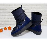 Зимние высокие ботиночки Луноходы в стиле Moon Boot из натуральной синей кожи с перламутровым отливом и замши, на прорезиненной утолщенной подошве, Коллекция Осень-Зима 2017-2018, Б-17112