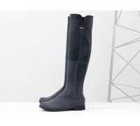 Ботфорты в замше серого цвета на низком ходу коллекция осень-зима, М-1670-02