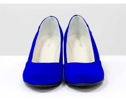 Туфли из натуральной замши цвета синий электрик, на устойчивом каблуке, Т-200-02
