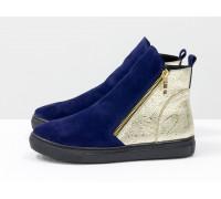 Ботинки хайтопы, из натуральной замши синего цвета и кожаной пятки золотого цвета, на черной прорезиненной подошве, Б-407-31