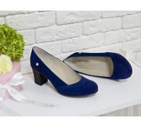 Туфли из натуральной замши синего цвета на устойчивом каблуке, Т-200-05