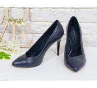 Классические Туфли-лодочки на шпильке из натуральной кожи шикарного синего цвета, Т-1701