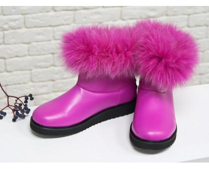 Женские ботиночки в стиле UGG из натуральной кожи цвета фуксия и натурального шикарного меха песца, Коллекция осень-зима 2017-2018, Б-17113