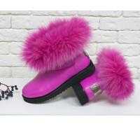 Женские ботиночки в стиле UGG из натуральной кожи цвета фуксия и натурального шикарного меха песца, Коллекция осень-зима , Б-17113