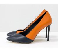 Туфли лодочки на каблуке, из натуральной кожи оранжевого и синего цвета, коллекция Весна-Лето , Т-1701-05