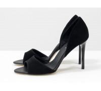 Босоножки с открытым носиком, из натуральной замши черного цвета на каблуке - шпилька, Коллекция Весна-Лето, С-704-15