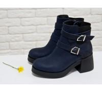 Ботинки из матовой кожи синего цвета на молнии с ремешками и застежками на черной устойчивой подошве, Коллекция Осень-Зима, Б-1665-01