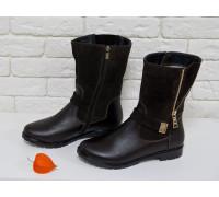 Ботинки женские темно-коричневого цвета из натуральной кожи и замши фурнитура золото, Коллекция Осень-Зима, Б-150