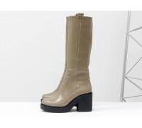 Невысокие женские Сапоги из натуральной гладкой кожи бежевого цвета на молнии на устойчивом не высоком каблуке, Коллекция Осень-Зима, М-16072-04