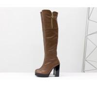 Сексуальные ботфорты на высоком устойчивом каблуке из натуральной кожи коричневого цвета, М-16073-04