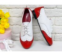 Классические туфли из натуральной кожи красного и белого цвета, Т-415