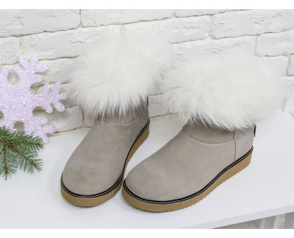 Женские ботиночки в стиле UGG из натуральной замши бежевого цвета и натурального шикарного меха песца, коллекция 2017-2018, Б-17113