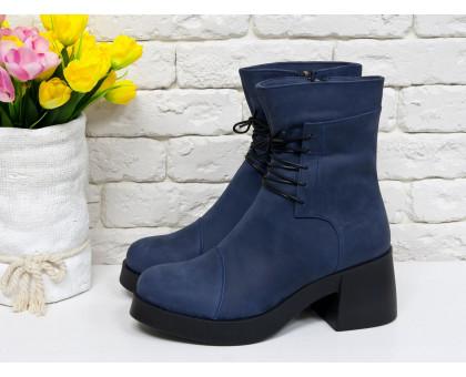 Удобные женские ботинки на шнурках в синей матовой коже на устойчивом, не высоком каблуке черного цвета, Б-1607
