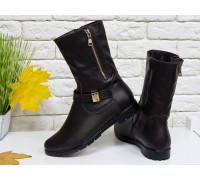 Высокие женские Ботинки из натуральной кожи темно-коричневого цвета, на удобном не высоком каблучке, Б-150-08