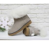 Женские ботиночки в стиле UGG из натуральной замши бежевого цвета и натурального шикарного меха песца, коллекция , Б-17113