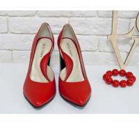 Эксклюзивные туфли из натуральной кожи ярко-красного цвета, на устойчивом глянцевом каблуке , Лимитированная серия, Т-1701/1элит