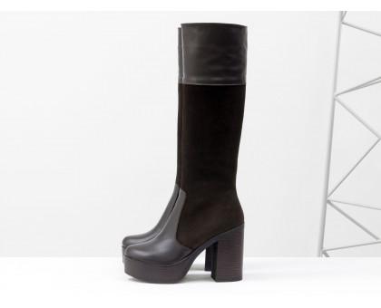 Высокие сапоги из натуральной  кожи и замши темно коричневого цвета на молнии  на устойчивом каблуке коллекция осень-зима от Джино Фиджини, М-16076-02