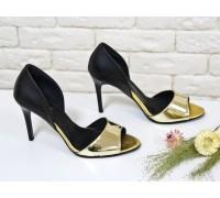Босоножки из эффектной экокожи-зеркала золотого цвета на каблуке-шпилька коллекция Весна-Лето 2017, С-704