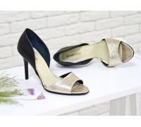 Босоножки из кожи нежно-золотого и черного цвета на каблуке-шпилька коллекция лето-весна2017, С-704