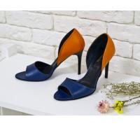 Босоножки из натуральной кожи оранжево-синего цвета летние на каблуке-шпилька коллекция лето-весна 2016, С-704