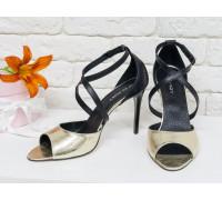 Нарядные Туфли, на каблуке-шпильке, из натуральной кожи черного и золотого цвета, С-17043