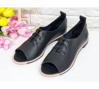 Невероятно легкие туфли с открытым носиком из натуральной матовой кожи черного цвета на эластичной подошве черно-розового цвета, Т-17415-01
