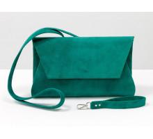 Наша новинка - шикарная замшевая сумка клатч объемной формы, красивого бирюзового цвета с отстегивающейся ручкой. Эксклюзивные сумки из замши-велюр от производителя Gino Figini, К-02-03