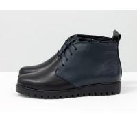 Ботинки-дезерты из натуральной кожи черного и синего цвета, разных текстур, на удобной утолщенной подошве, Б-152-08