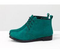 Классические женские ботинки красивого бирюзового цвета из натуральной замши на черной подошве и невысоком каблуке, Б-152-36