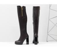 Ботфорты на высоком устойчивом каблуке из натуральной кожи коричневого цвета, М-16073-09