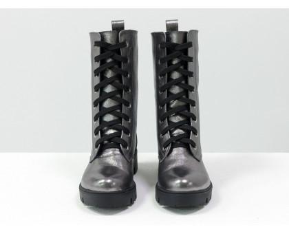 Ботинки-берцы из натуральной кожи цвета никель на шнурках на тракторной подошве черного цвета, Коллекция Осень-Зима, Б-16077/1-07