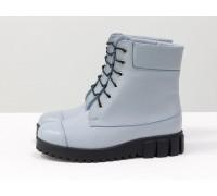 Голубые ботинки на шнуровке, выполнены из натуральной кожи голубого цвета, на удобной подошве черного цвета, Новая коллекция от Джино Фиджини, Б-16081-22