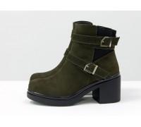 Темно-зеленые ботинки из натуральной матовой кожи с ремешками вокруг щиколотки, на черной подошве и устойчивом каблуке, коллекция осень-зима от Gino Figini, Б-1665-04