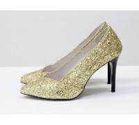 Туфли-лодочки на шпильке из натуральной кожи и блестящей крошки золотого цвета, Т-1701-11
