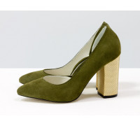Эксклюзивные туфли из натуральной Итальянской замши темно зеленого цвета, на устойчивом каблуке золотого цвета, Лимитированная серия, Т-1701/1-02