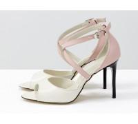 Туфли, с открытым носиком, на каблуке-шпильке, из натуральной кожи пудрового цвета с легким мерцанием и розового цвета, Свадебная коллекция Весна-Лето, С-17043-06
