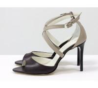 Туфли, с открытым носиком, на каблуке-шпильке, из натуральной кожи бежевого и коричневого цвета, Новая коллекция от Gino Figini, С-17043-09