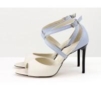 Туфли, с открытым носиком, на каблуке-шпильке, из натуральной кожи молочного цвета с легким мерцанием и небесно-голубого цвета, Свадебная коллекция от Gino Figini, С-17043-10