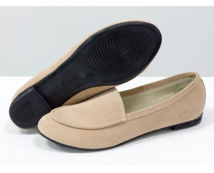 Облегченные туфли из натуральной итальянской замши персикового цвета на низком ходу, Коллекция Весна-Лето от Джино Фиджини, Т-17060/1-06
