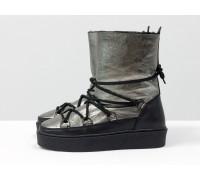 Зимние высокие ботиночки Луноходы в стиле Moon Boot из натуральной кожи черного и платинового цвета, на прорезиненной утолщенной подошве, Коллекция Осень-Зима, Б-17112-02
