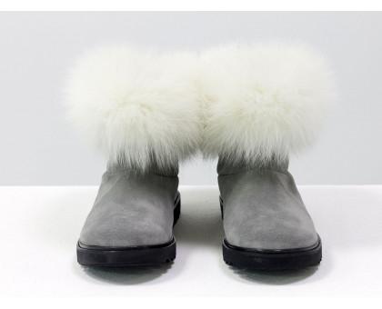 Женские ботиночки в стиле UGG из натуральной замши светло-серого цвета и натурального шикарного меха песца, Зимняя коллекция, Б-17113-05