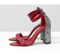 Нарядные Босоножки из натуральной кожи ярко-красного цвета и текстиля серебряная крошка, на устойчивом обтяжном каблуке, Коллекция Весна-Лето, С-1731-04