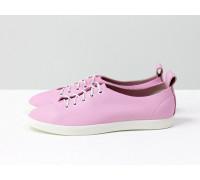 """Невероятно легкие туфли-кеды из натуральной кожи розового цвета """"Hello Kitty"""" на яркой белой эластичной подошве и белой шнуровке , Т-17412-05"""