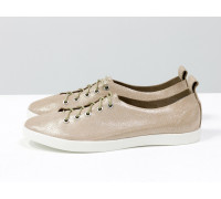 Легкие туфли на шнуровке из натуральной кожи пудрового цвета с блестящим напылением на белой эластичной подошве, Т-17412-15